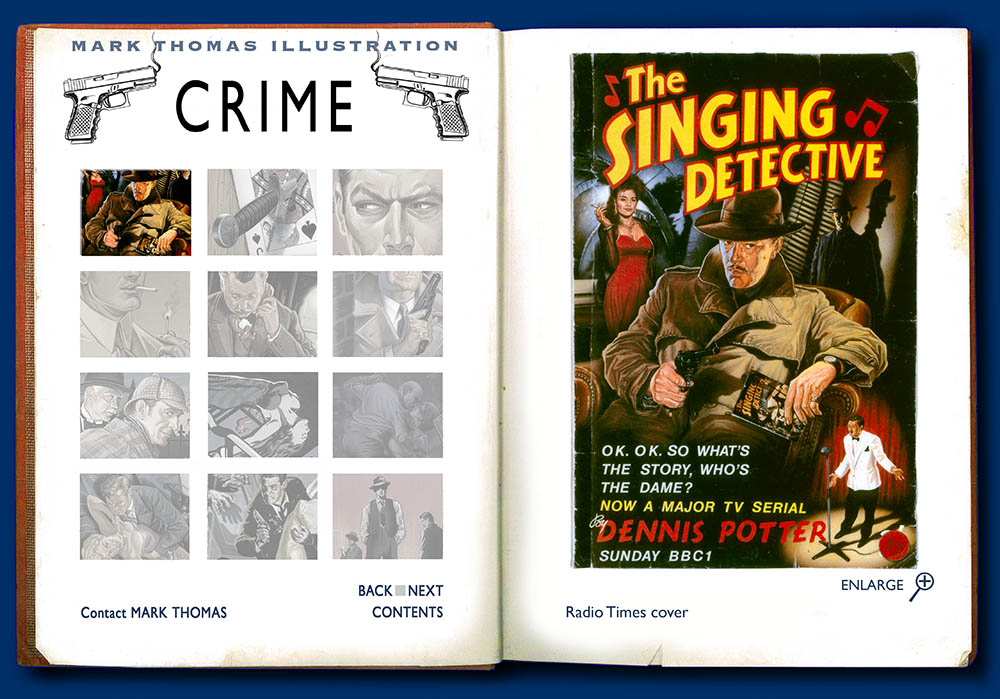 The Singing Detective, Dennis Potter. Crime illustration by Mark Thomas. Please note this is a UK based all image site