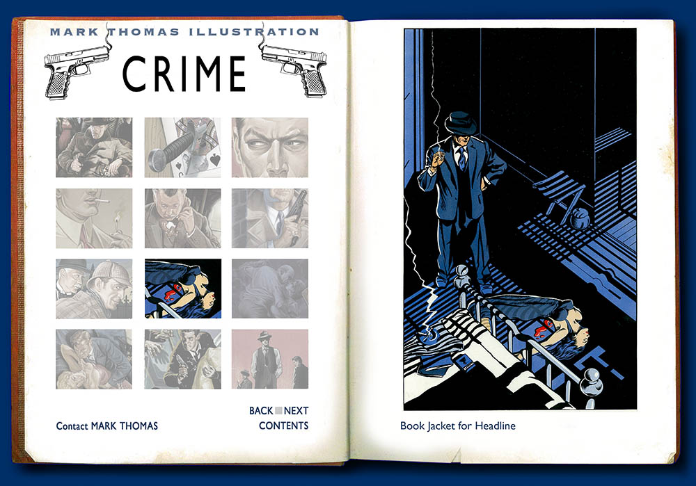 Crime illustration by Mark Thomas. Please note this is a UK based all image site