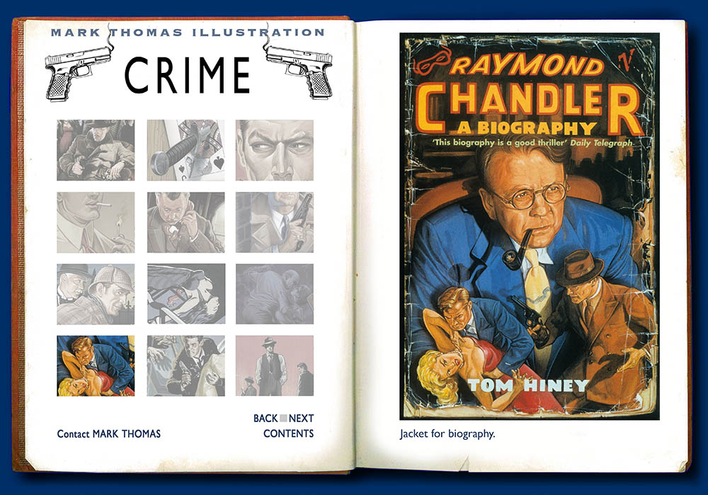 Raymond Chandler. Crime illustration by Mark Thomas. Please note this is a UK based all image site