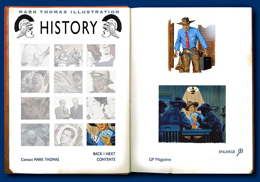 Euro Cowboys. History Illustration by Mark Thomas. Please note this is a UK based all image site