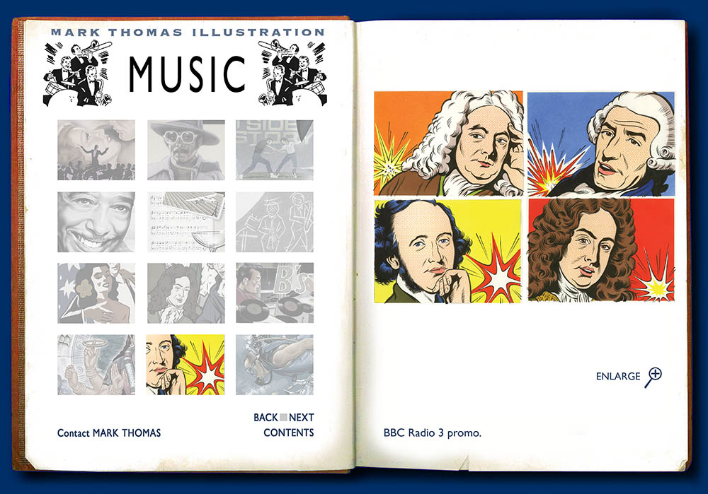 Radio 3, Franz List, Handel, Purcell, Schumann, Bach. Music Illustration by Mark Thomas. Please note this is a UK based all image site