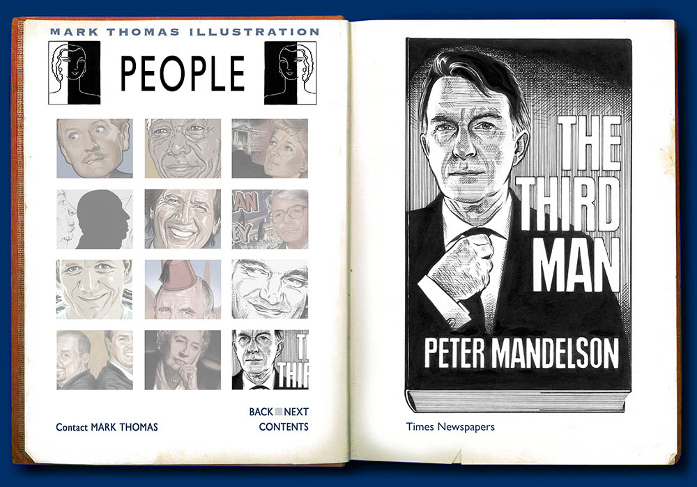 Peter Mandelson, The Third Man. Portrait Illustration by Mark Thomas. Please note this is a UK based all image site