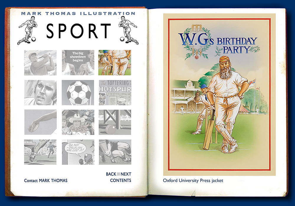 W. G. Grace. Sports Illustration by Mark Thomas. Please note this is a UK based all image site