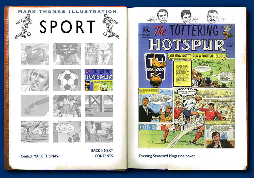 Tottering Hotspur, Tottenham Hotspur. Sports Illustration by Mark Thomas. Please note this is a UK based all image site