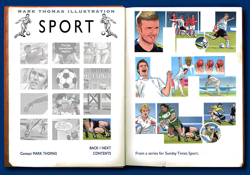 David Beckham. Sports Illustration by Mark Thomas. Please note this is a UK based all image site
