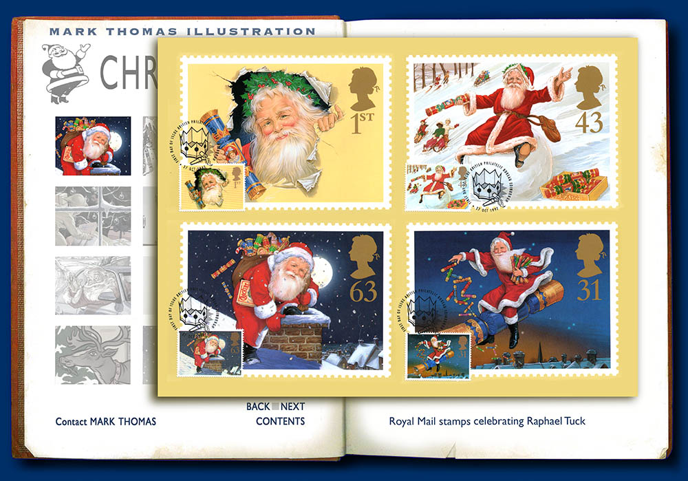 Royal Mail Christmas Stamps. Christmas illustrations by Mark Thomas. Please note this is a UK based all image site